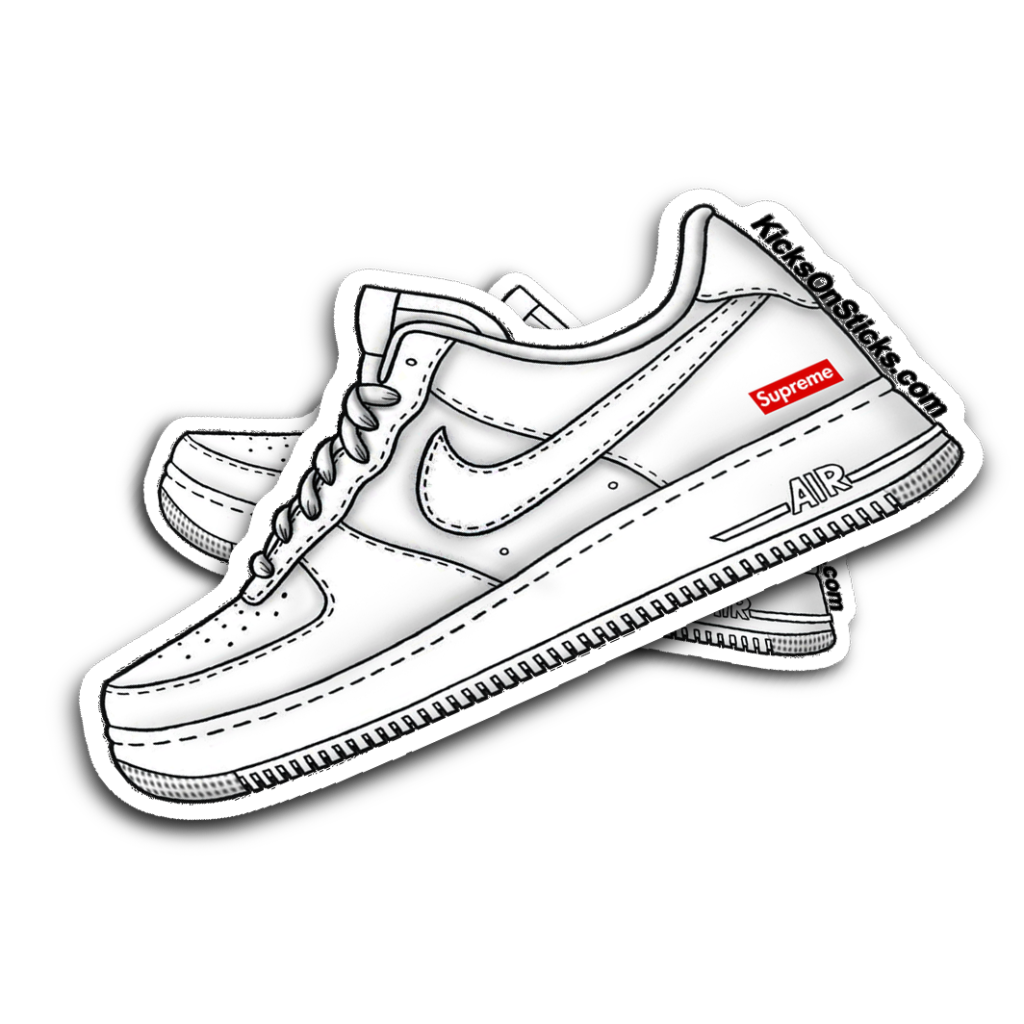 Nike Air Force 1 Low Supreme White Sneaker Sticker