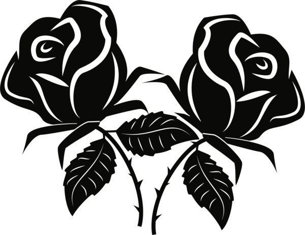 Rose Flower Black And White Plant Clipart  Rose Clipart