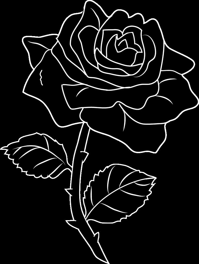 Rose Flower Png Black And White  Free Rose Flower Black