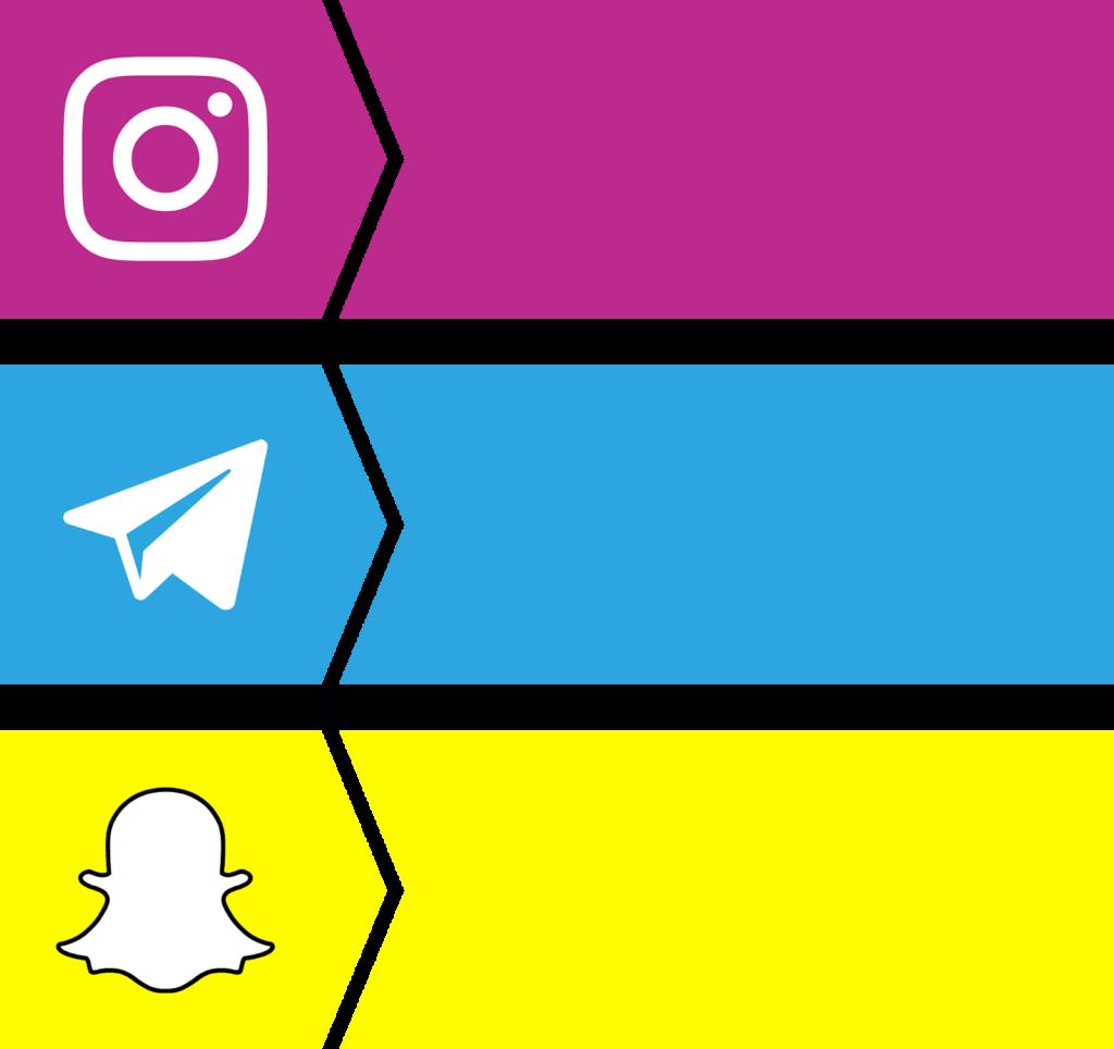 download bottons instagram snapchat telegram vector color