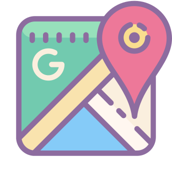 Google maps icons in Cute Color style for graphic design