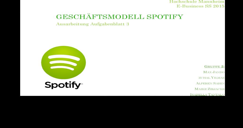 Geschäftsmodell  Business Model Canvas von Spotify