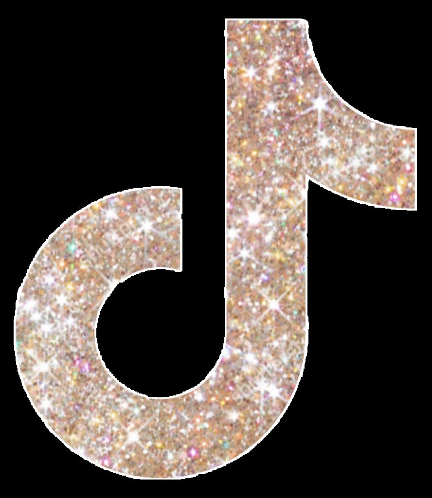 tiktok logo gold golden with mit in glitter