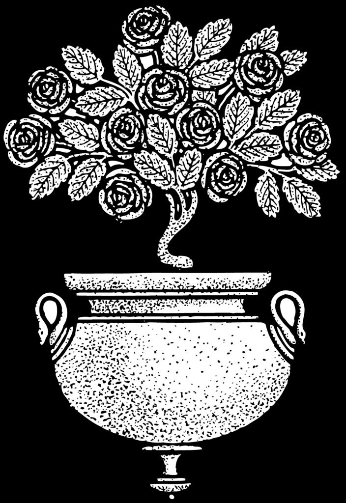 Vintage Roses in Flower Pot  Free Clip Art
