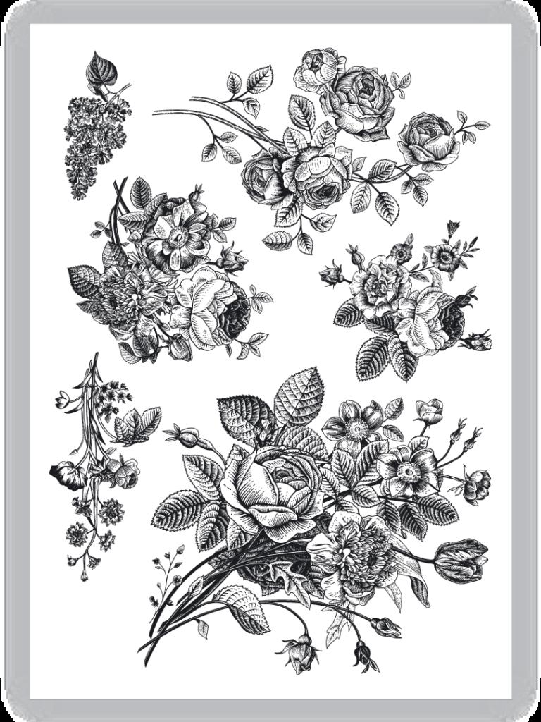 Vintage flowers temporary tattoo Set of 6 retro floral