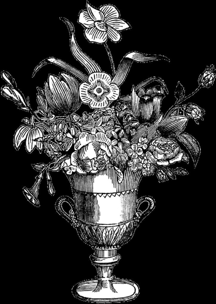 Free Digital Stamp  Ornate Flower Vase  Digital stamps