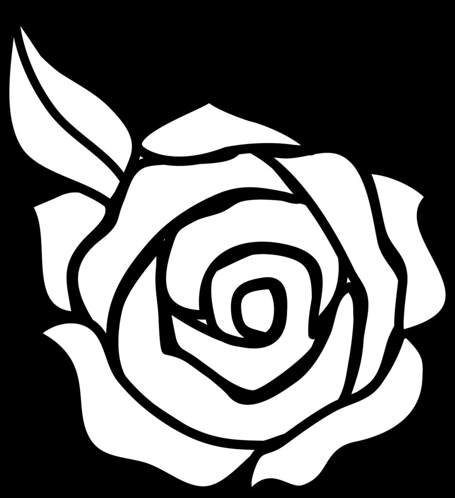 Colorable Rose Line Art  Free Clip Art