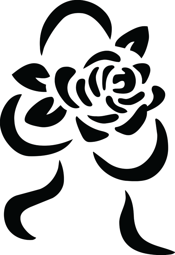 Free Clipart Of A black and white rose and ribbon bouquet