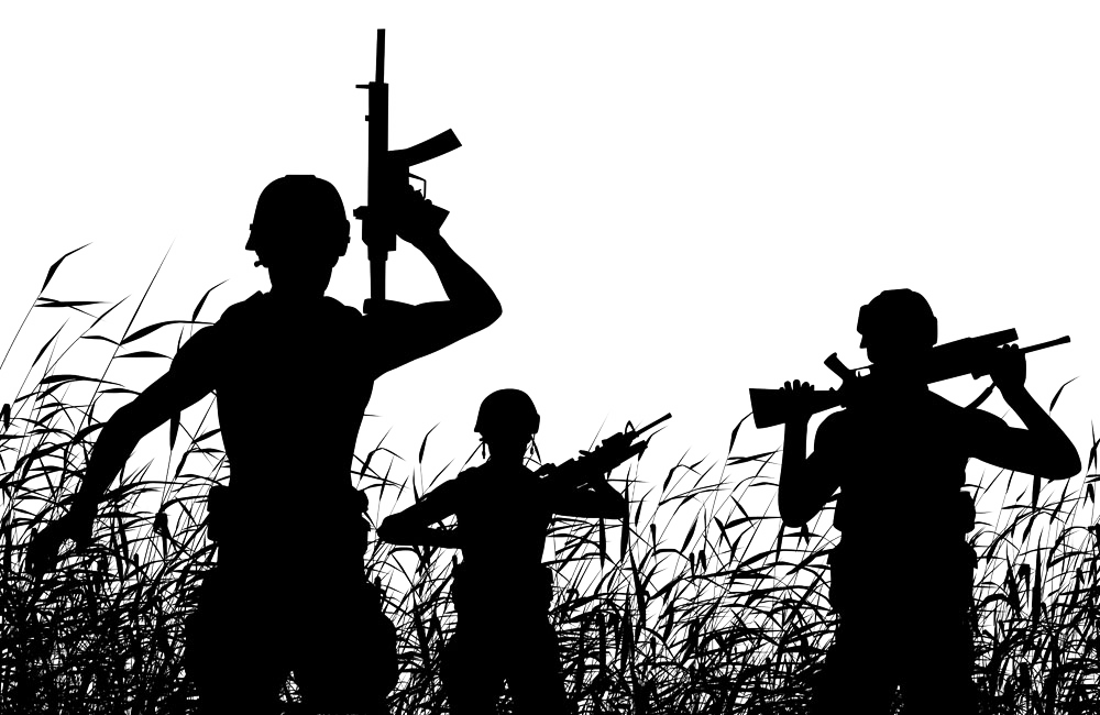 Soldier Silhouette Royaltyfree Marching  Jungle