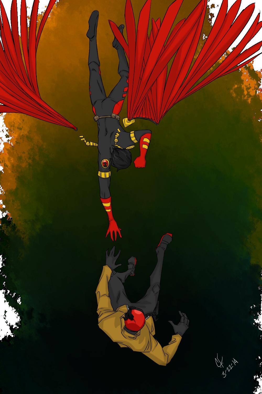 Falling by CassperClearie   Batman family, Nightwing, Tim ... - Batman Red X