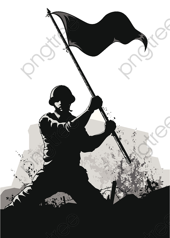 Transparent army ppt soldier black and white silhouette