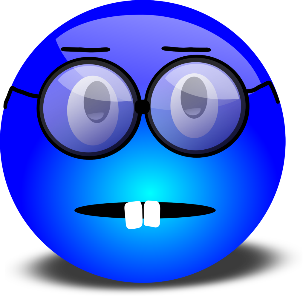 Nerdy Blue Smiley With Overbite and Glasses  Free 3D