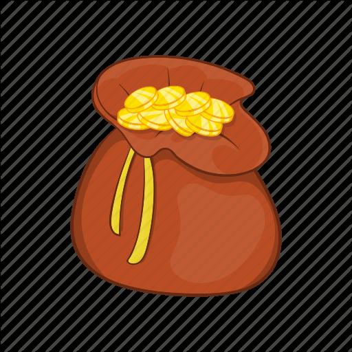 Bag cartoon currency dollar finance money sack icon