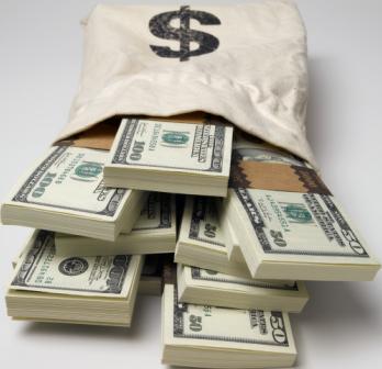 Cash Money In Bag On Side PSD  Official PSDs