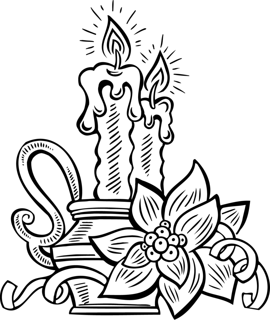 Graphic Freeuse Coloring Pages Ideas Candles  Christmas
