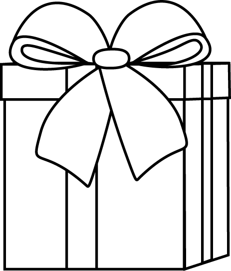 Black and White Christmas Gift Clip Art  Black and White