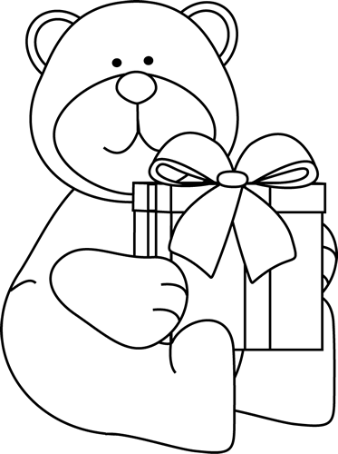 Present black and white christmas bear clipart black and