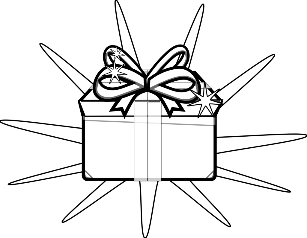 Present black and white free holiday clipart black and