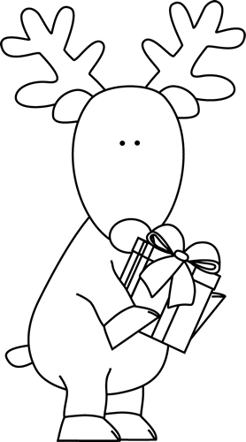 Black and White Reindeer with a Christmas Gift Clip Art