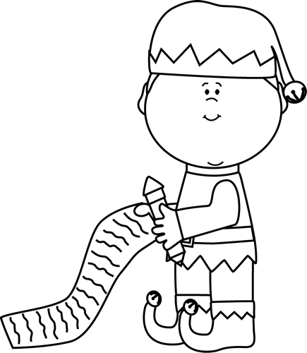Black and White Elf with Christmas List Clip Art  Black
