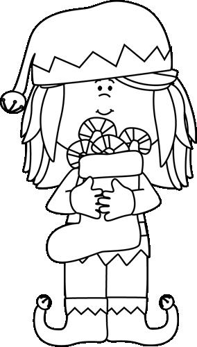 Black and White Black and White Girl Christmas Elf