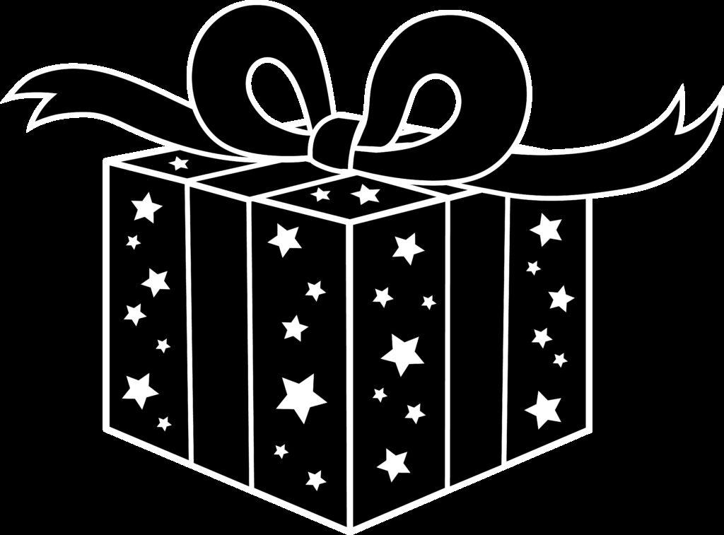 Present black and white christmas present clip art black