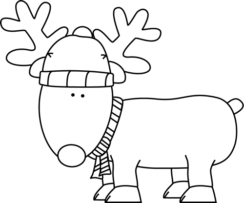 Black and White Christmas Reindeer Clip Art  Black and