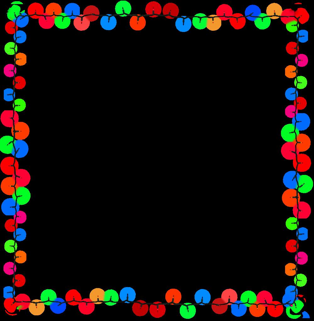 Frame Christmas Lights Border Clipart Black And White