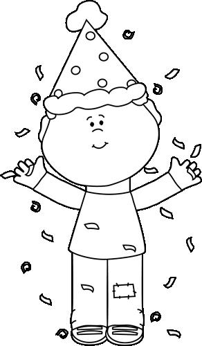 Black and White Birthday Boy with Confetti Clip Art