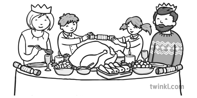christmas dinner clipart black and white 10 free Cliparts
