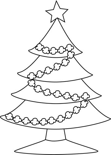 Black and White Popcorn Christmas Tree Clip Art  Black