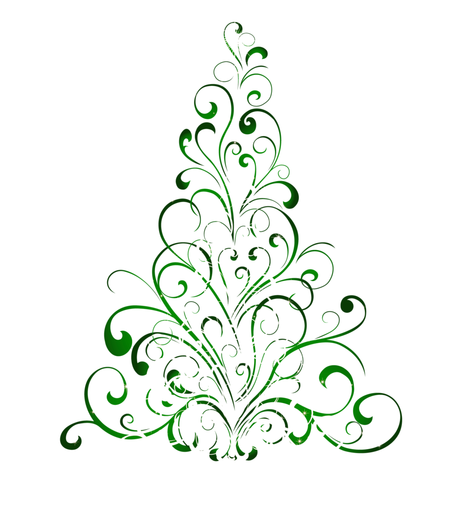 Black And White Christmas Tree Clipart  Free download on