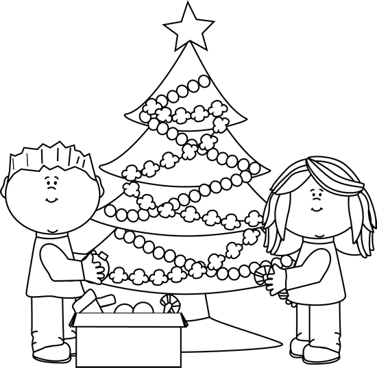 Black and White Kids Decorating Christmas Tree Clip Art