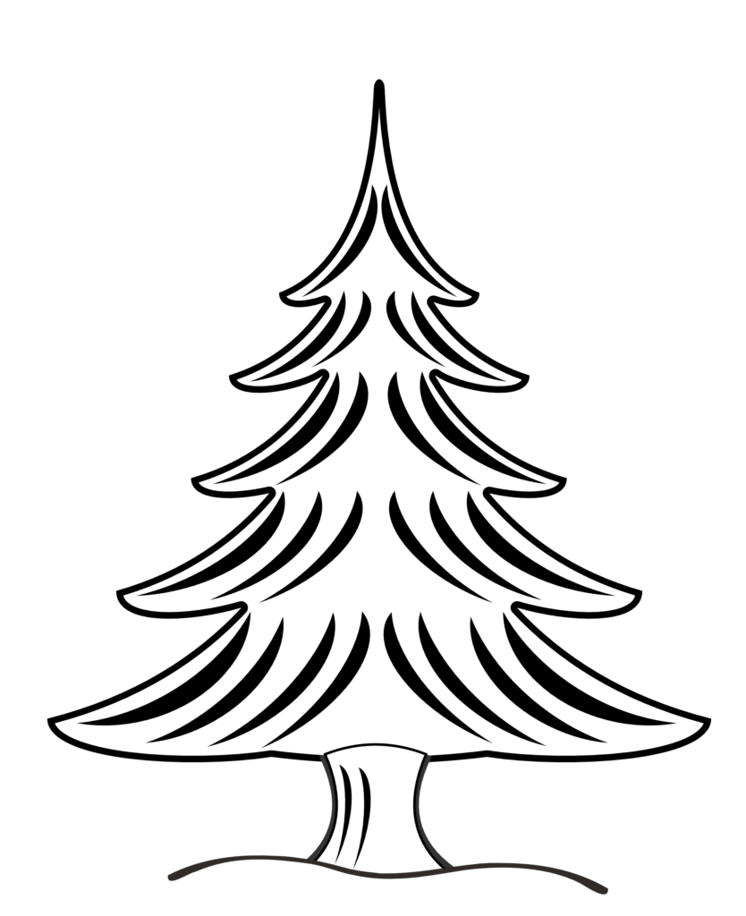 Christmas Tree Black White Line Art Clip Clipart Pictures