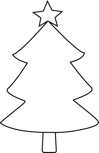 Black and White Blank Christmas Tree Clip Art  Black and