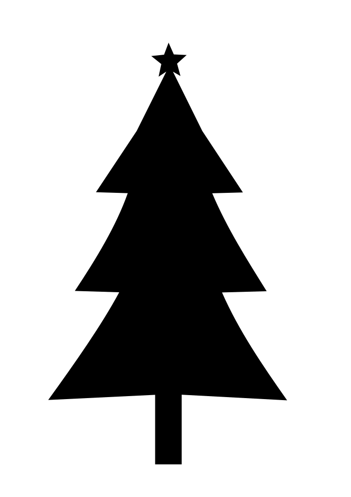 OnlineLabels Clip Art - Christmas Tree Silhouette - Christmas Tree Clip Art Black and White