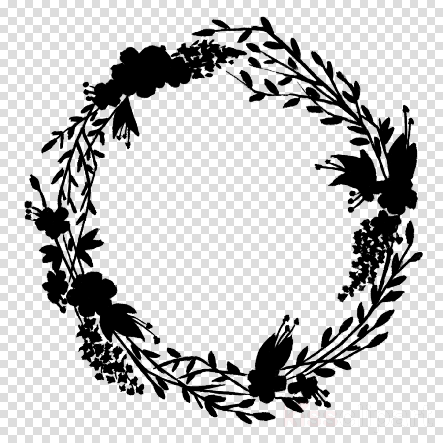 Library of wreath clip library black silhouette png files ... - Christmas Wreath Clip Art Black and White