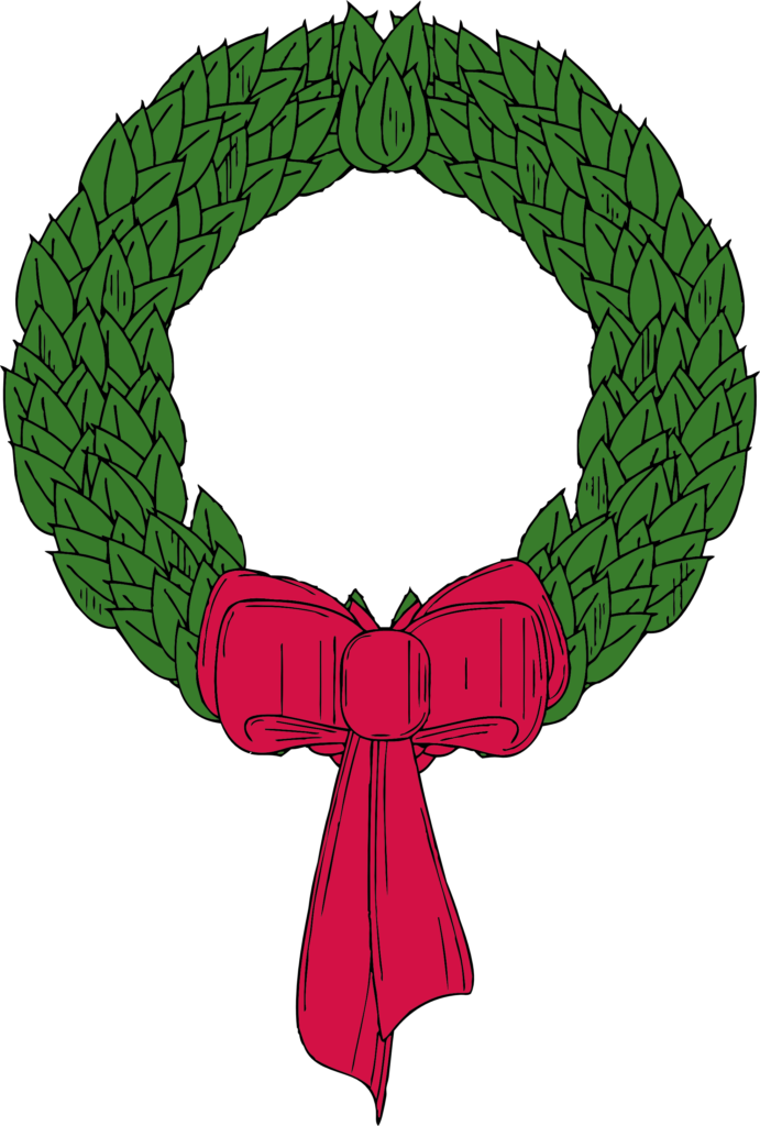 christmas wreath black white line art coloring