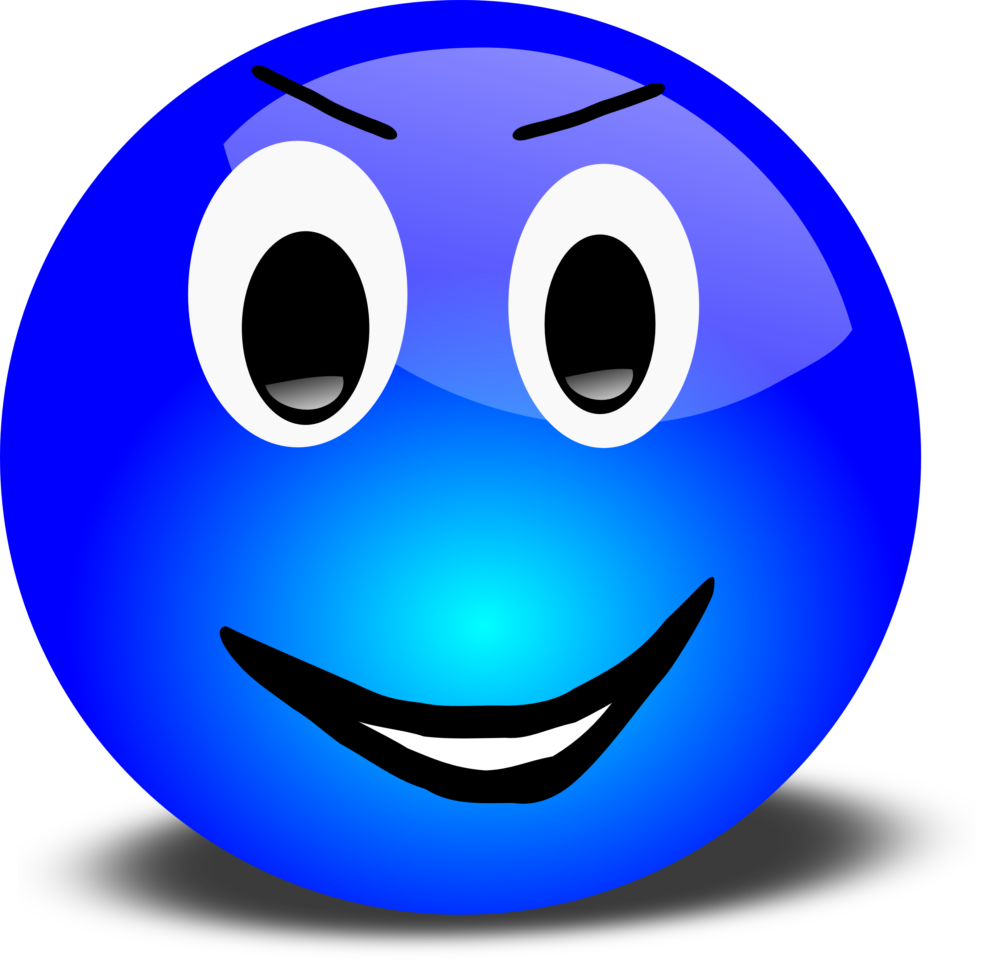 Free 3d Grinning Blue Smiley Face Clipart Illustration - Clip Art Smiley Faces Emoticons