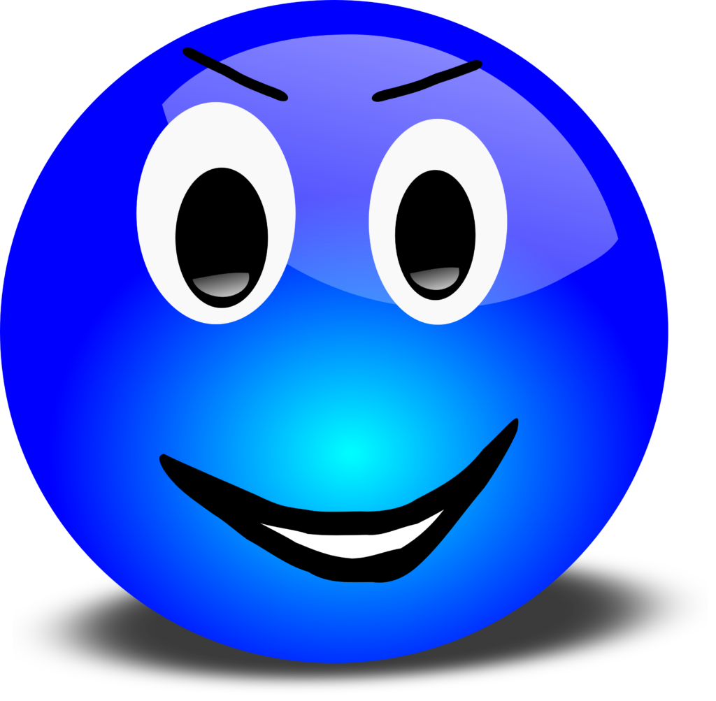 Free 3d Grinning Blue Smiley Face Clipart Illustration