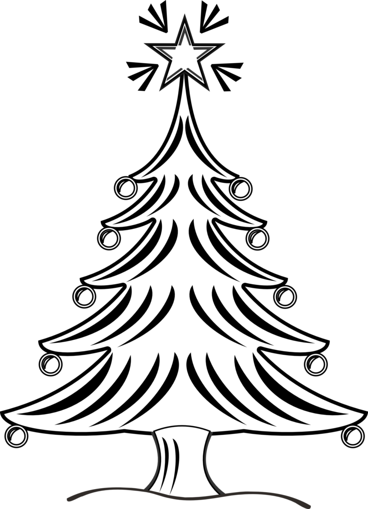 Christmas Tree Clipart Black And White  Clipartsco