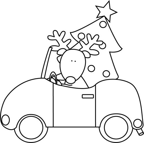 Black and White Reindeer Hauling a Christmas Tree Clip Art