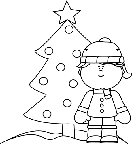 Black and White Girl and Christmas Tree in the Snow Clip