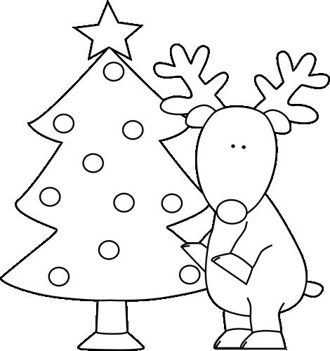 Black and White Reindeer Near Christmas Tree Clip Art