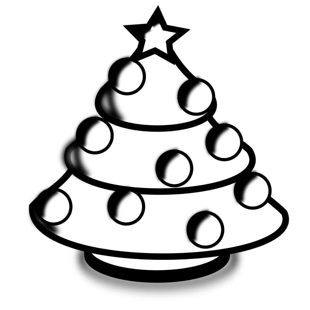 Library of christmas tree black and white picture library