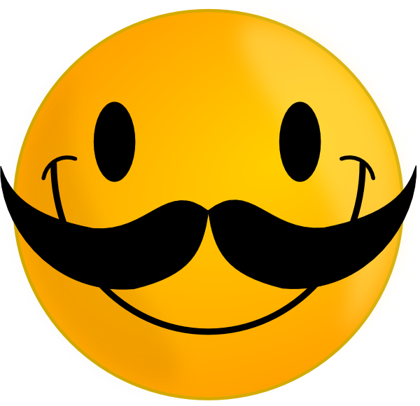 Funny Cute Smiley Pink  Smile with Mustache clip art