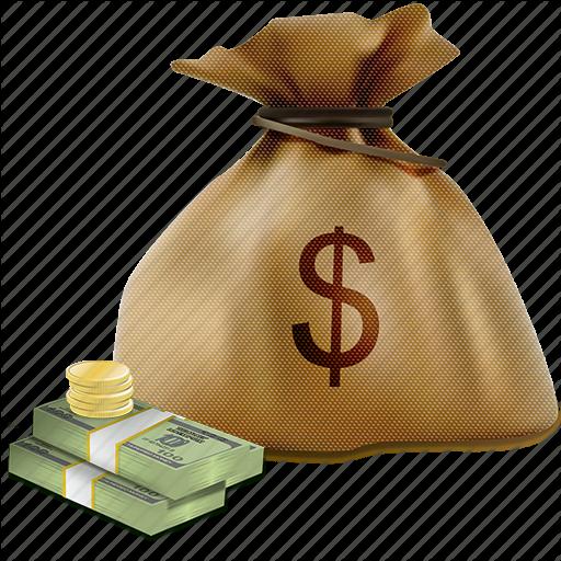 Bag coins dollar dollars finance money sack icon