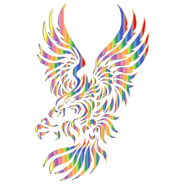 Chromatic Effect Tribal Eagle Silhouette  Free SVG