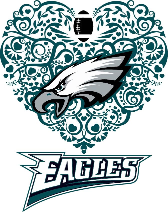 Eagles Heart Football SVG DXF PNG Cricut Silhouette