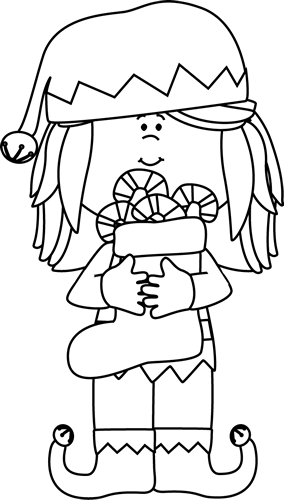 Black and White Girl Christmas Elf Clip Art  Black and